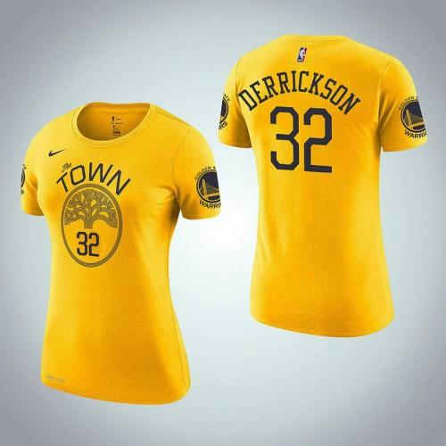 Women's Golden State Warriors #32 Marcus Derrickson Gold Earned T-Shirt