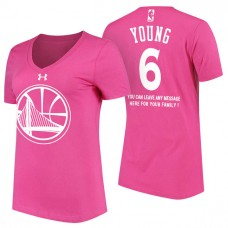 Women's Golden State Warriors #6 Nick Young Pink Mother's Day T-Shirt
