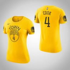 Women's Golden State Warriors #4 Quinn Cook Gold Earned T-Shirt