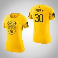 Women's Golden State Warriors #30 Stephen Curry Earned T-Shirt