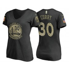Women's Golden State Warriors #30 Stephen Curry Camo Name & Number T-Shirt