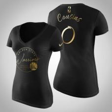 Women's Golden State Warriors DeMarcus Cousins #0 Golden Edition Handwriting T-Shirt  -  Black