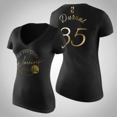 Women's Golden State Warriors Kevin Durant #35 Golden Edition Handwriting T-Shirt  -  Black