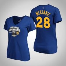 Women's Golden State Warriors Alfonzo McKinnie #28 2019 Western Conference Champions Royal T-Shirt