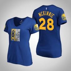 Women's Golden State Warriors Alfonzo McKinnie #28 2019 Western Conference Champions Identity V-Neck Royal T-Shirt