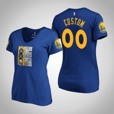 Women's Golden State Warriors Custom #00 2019 Western Conference Champions Level Of Desire V-Neck Royal T-Shirt