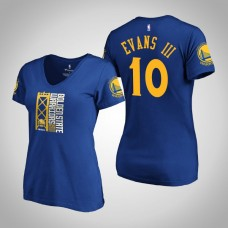 Women's Golden State Warriors Jacob Evans III #10 2019 Western Conference Champions Identity V-Neck Royal T-Shirt