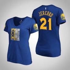 Women's Golden State Warriors Jonas Jerebko #21 2019 Western Conference Champions Identity V-Neck Royal T-Shirt