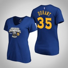 Women's Golden State Warriors Kevin Durant #35 2019 Western Conference Champions Royal T-Shirt