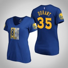Women's Golden State Warriors Kevin Durant #35 2019 Western Conference Champions Identity V-Neck Royal T-Shirt