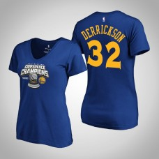 Women's Golden State Warriors Marcus Derrickson #32 2019 Western Conference Champions Royal T-Shirt