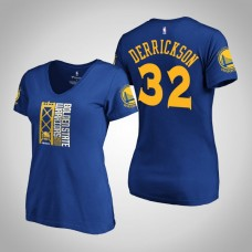 Women's Golden State Warriors Marcus Derrickson #32 2019 Western Conference Champions Identity V-Neck Royal T-Shirt