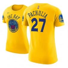 Women's Golden State Warriors #27 Zaza Pachulia Gold City T-Shirt