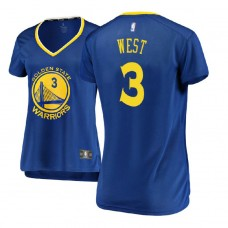 Women's Golden State Warriors #3 David West Royal Icon Jersey