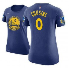 Women's Golden State Warriors #0 DeMarcus Cousins Royal Icon T-Shirt