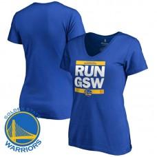 Women's Golden State Warriors Royal RUN-CTY V-Neck T-Shirt