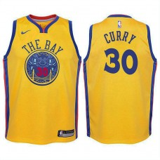 Youth Golden State Warriors #30 Stephen Curry Gold City Jersey