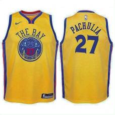 Youth Golden State Warriors #27 Zaza Pachulia Gold City Jersey