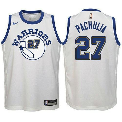 Youth Golden State Warriors #27 Zaza Pachulia White Hardwood Classics Jersey