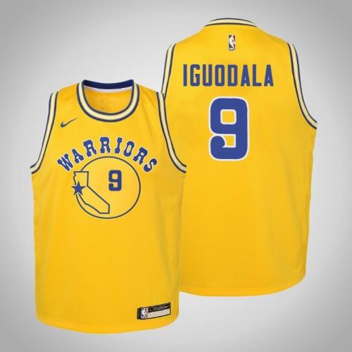 Youth Golden State Warriors #9 Andre Iguodala Gold Hardwood Classics Jersey