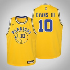Youth Golden State Warriors #10 Jacob Evans III Gold Hardwood Classics Jersey