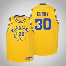 Youth Stephen Curry Golden State Warriors Hardwood Classics Gold Jersey