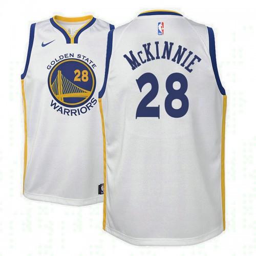 Youth Golden State Warriors #28 Alfonzo McKinnie White Association Jersey