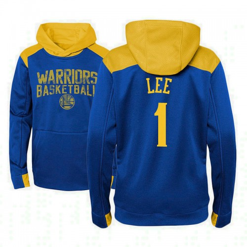 Youth Golden State Warriors #1 Damion Lee Royal Outerstuff Off The Court Hoodie