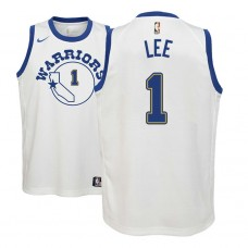 Youth Golden State Warriors #1 Damion Lee White Hardwood Classics Jersey