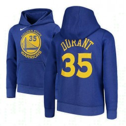 Youth Kevin Durant Golden State Warriors #35 Royal Logo Pullover Hoodie