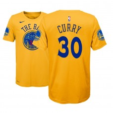 Youth Golden State Warriors #30 Stephen Curry Gold City T-Shirt